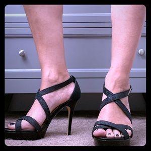 Nina black glittery heel